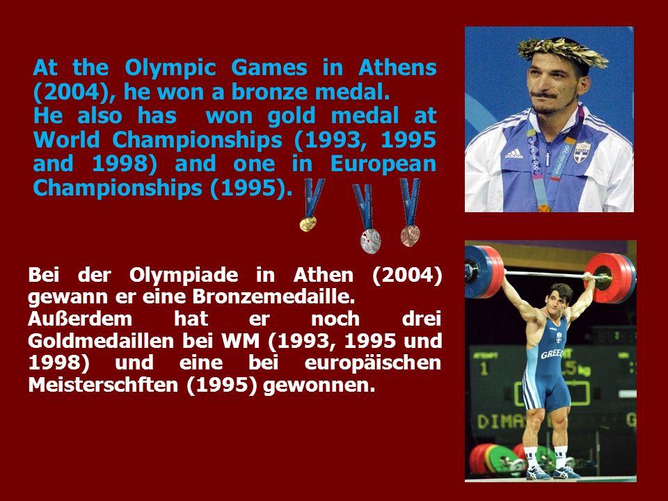 Bei der Olympiade in Athen (2004) gewann er eine Bronzemedaille. Außerdem hat er noch drei Goldmedaillen bei WM (1993, 1995 und 1998) und eine bei eur