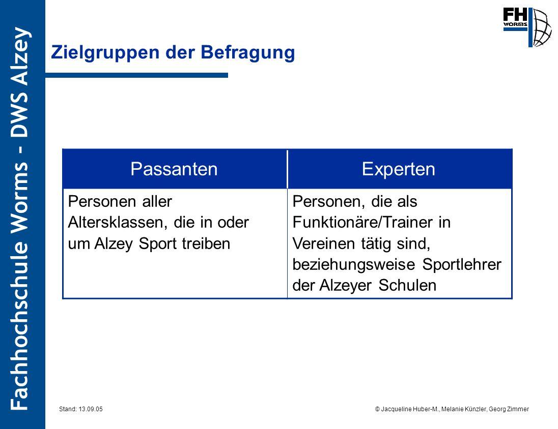 Fachhochschule Worms – DWS Alzey © Jacqueline Huber-M., Melanie Künzler, Georg Zimmer Stand: 13.09.05 Zielgruppen der Befragung PassantenExperten Pers