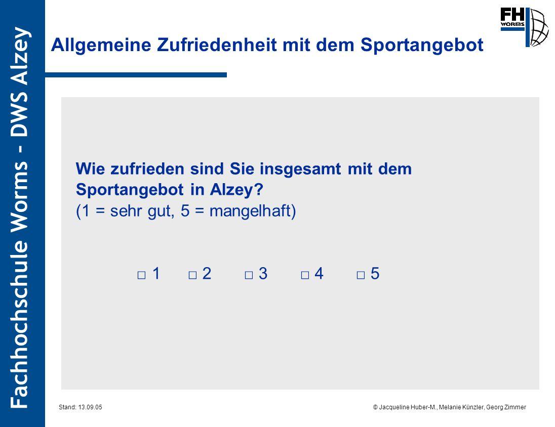 Fachhochschule Worms – DWS Alzey © Jacqueline Huber-M., Melanie Künzler, Georg Zimmer Stand: 13.09.05 Allgemeine Zufriedenheit mit dem Sportangebot Wie zufrieden sind Sie insgesamt mit dem Sportangebot in Alzey.