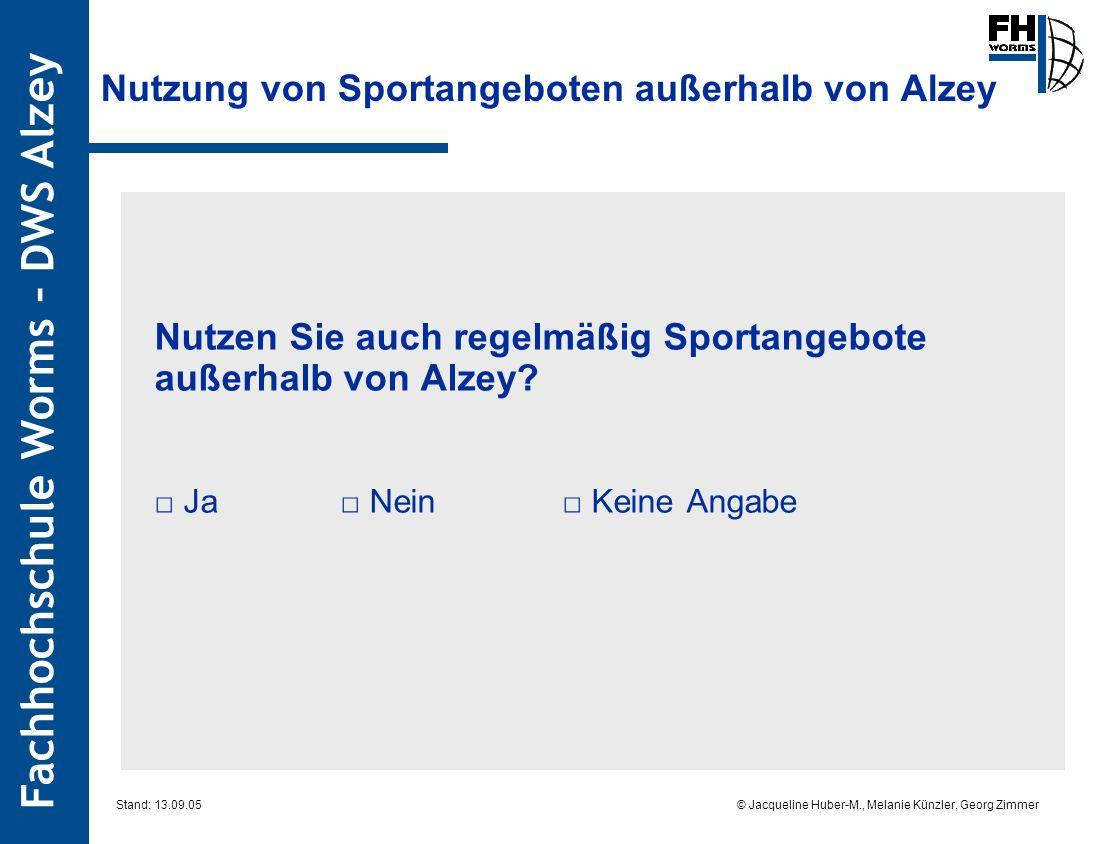 Fachhochschule Worms – DWS Alzey © Jacqueline Huber-M., Melanie Künzler, Georg Zimmer Stand: 13.09.05 Nutzung von Sportangeboten außerhalb von Alzey Nutzen Sie auch regelmäßig Sportangebote außerhalb von Alzey.