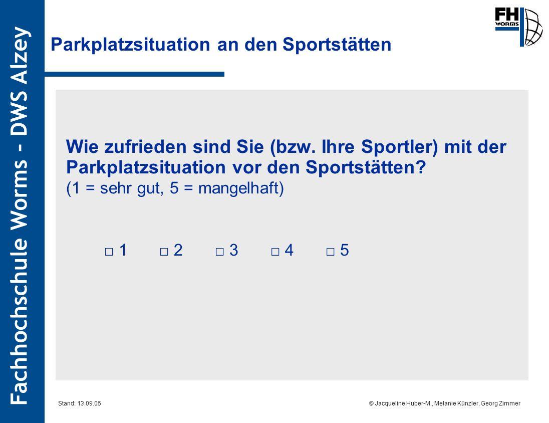 Fachhochschule Worms – DWS Alzey © Jacqueline Huber-M., Melanie Künzler, Georg Zimmer Stand: 13.09.05 Parkplatzsituation an den Sportstätten Wie zufrieden sind Sie (bzw.