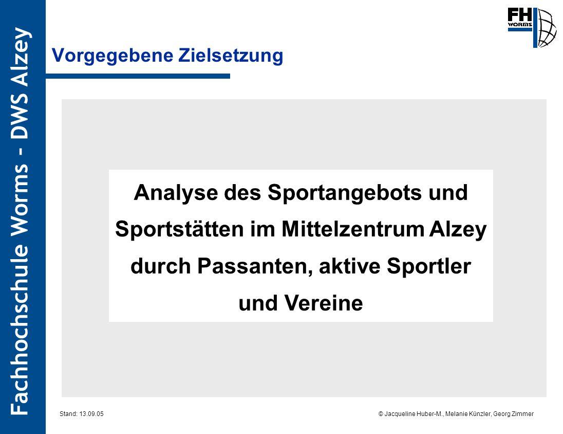 Fachhochschule Worms – DWS Alzey © Jacqueline Huber-M., Melanie Künzler, Georg Zimmer Stand: 13.09.05 Vorgegebene Zielsetzung Analyse des Sportangebot