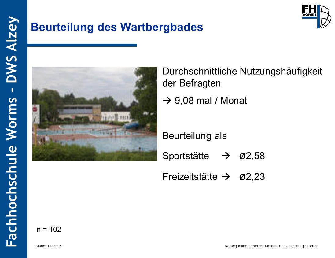 Fachhochschule Worms – DWS Alzey © Jacqueline Huber-M., Melanie Künzler, Georg Zimmer Stand: 13.09.05 Beurteilung des Wartbergbades n = 102 Durchschni