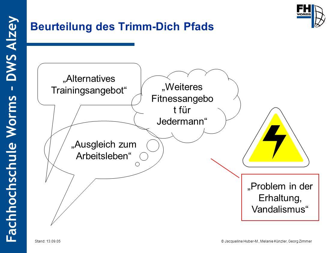 Fachhochschule Worms – DWS Alzey © Jacqueline Huber-M., Melanie Künzler, Georg Zimmer Stand: 13.09.05 Beurteilung des Trimm-Dich Pfads Alternatives Tr
