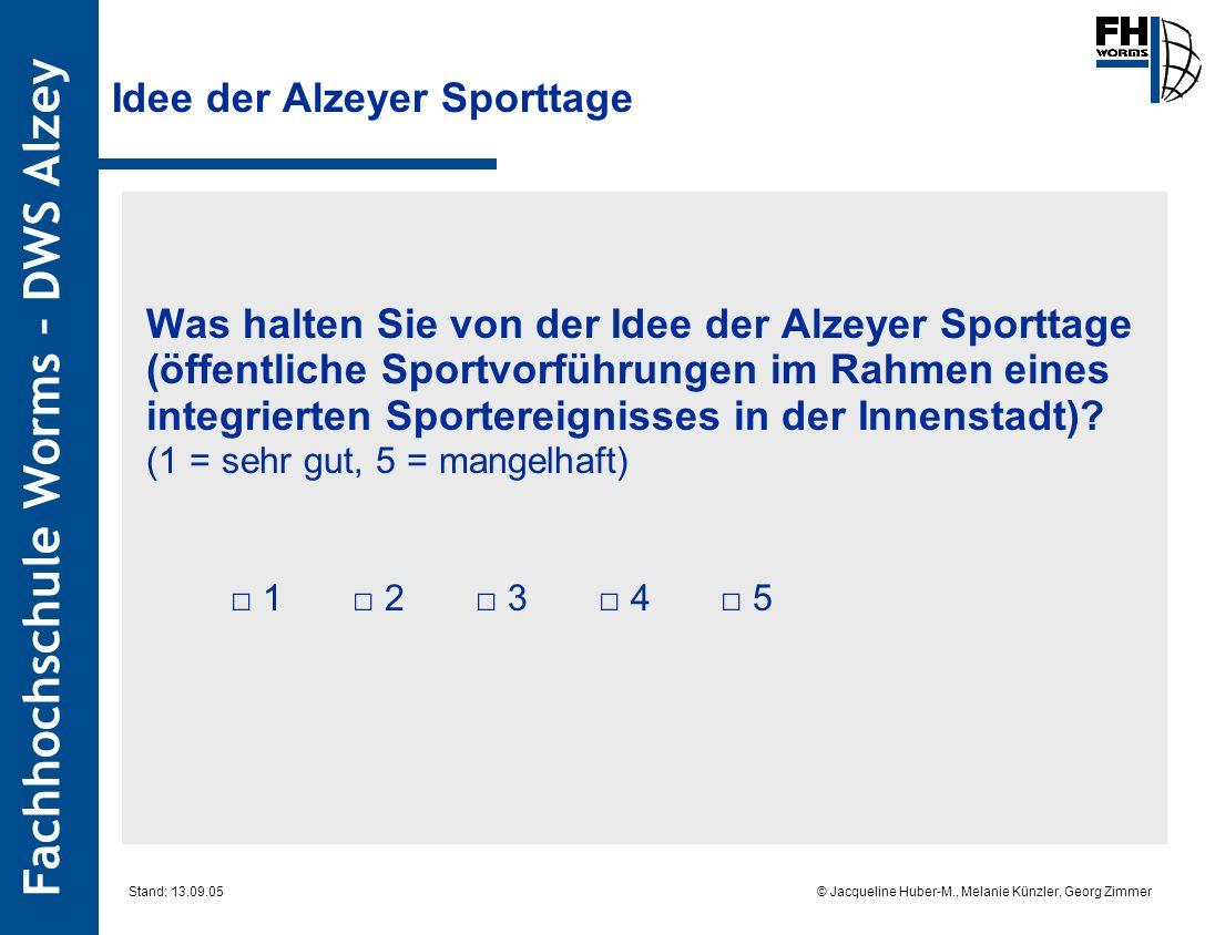 Fachhochschule Worms – DWS Alzey © Jacqueline Huber-M., Melanie Künzler, Georg Zimmer Stand: 13.09.05 Idee der Alzeyer Sporttage Was halten Sie von de