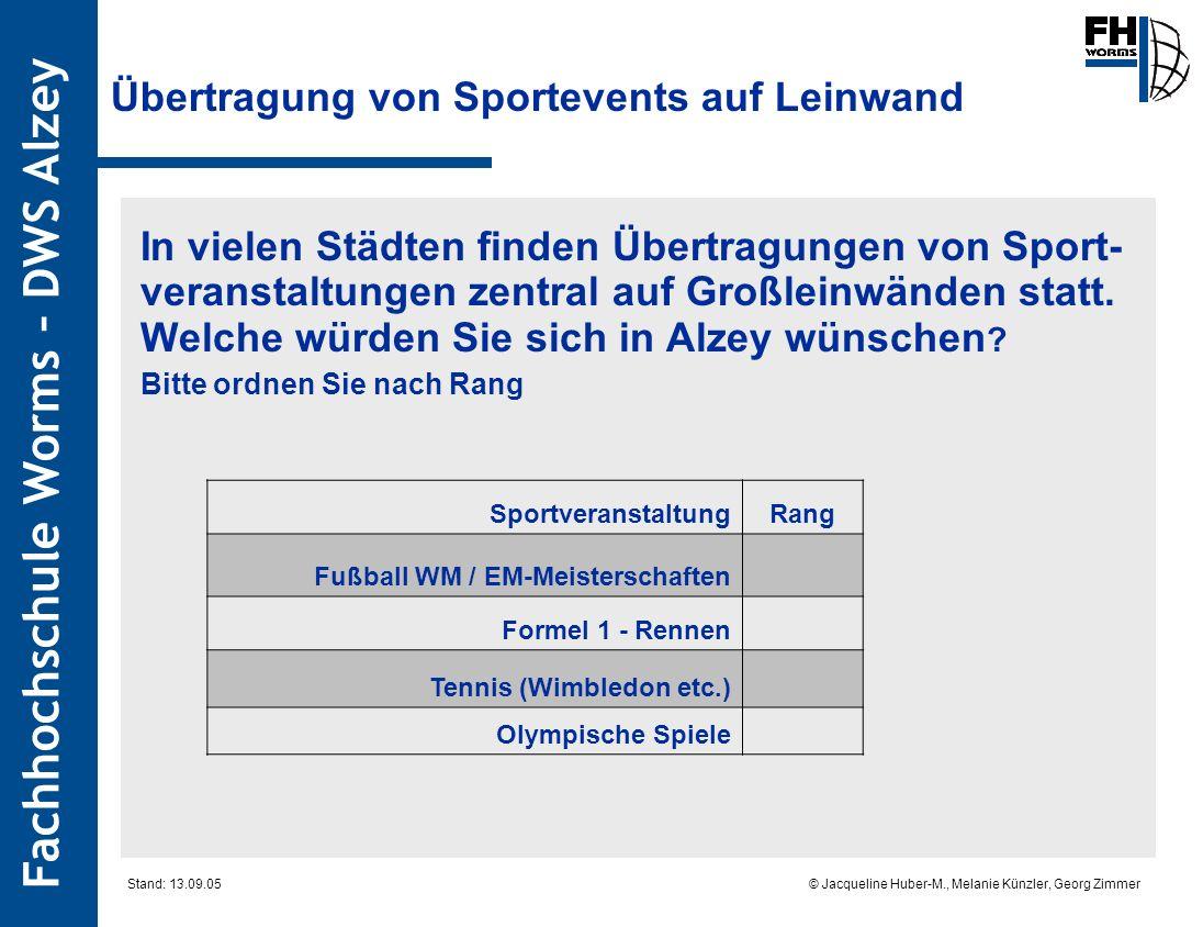 Fachhochschule Worms – DWS Alzey © Jacqueline Huber-M., Melanie Künzler, Georg Zimmer Stand: 13.09.05 Übertragung von Sportevents auf Leinwand In vielen Städten finden Übertragungen von Sport- veranstaltungen zentral auf Großleinwänden statt.