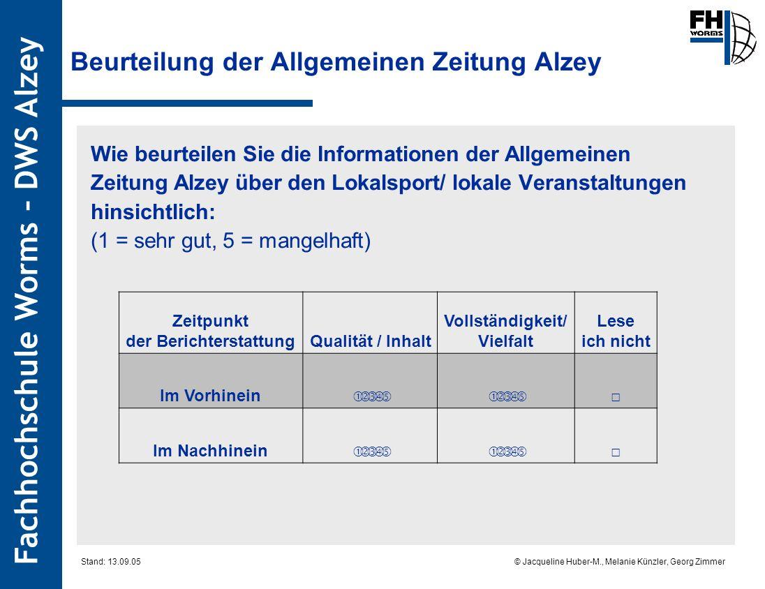 Fachhochschule Worms – DWS Alzey © Jacqueline Huber-M., Melanie Künzler, Georg Zimmer Stand: 13.09.05 Beurteilung der Allgemeinen Zeitung Alzey Wie be