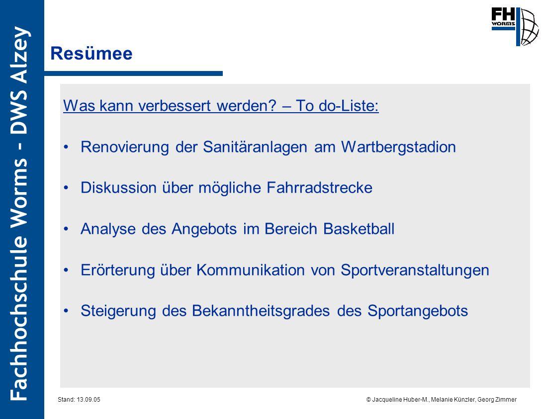 Fachhochschule Worms – DWS Alzey © Jacqueline Huber-M., Melanie Künzler, Georg Zimmer Stand: 13.09.05 Resümee Was kann verbessert werden? – To do-List