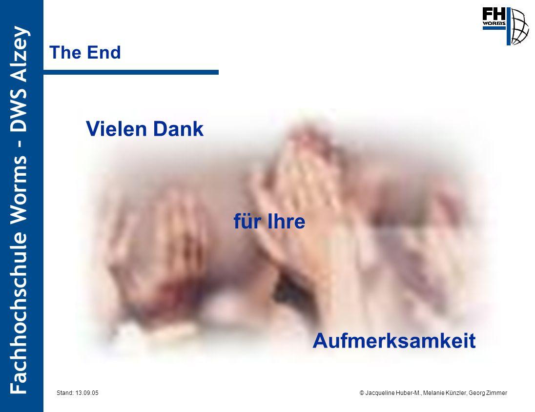 Fachhochschule Worms – DWS Alzey © Jacqueline Huber-M., Melanie Künzler, Georg Zimmer Stand: 13.09.05 The End Vielen Dank für Ihre Aufmerksamkeit