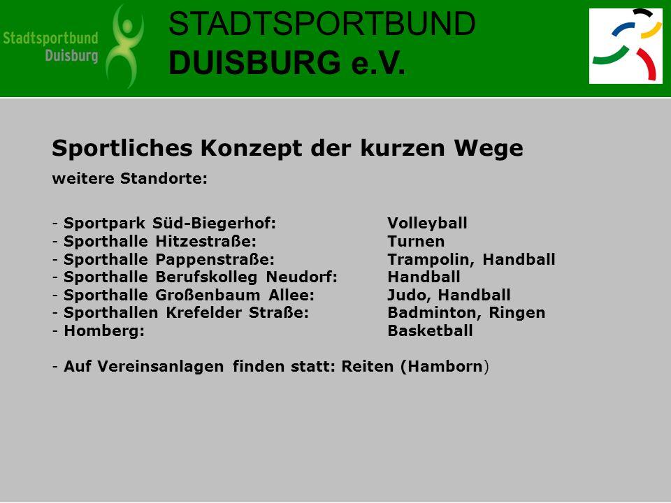 STADTSPORTBUND DUISBURG e.V. Sportliches Konzept der kurzen Wege weitere Standorte: - Sportpark Süd-Biegerhof: Volleyball - Sporthalle Hitzestraße: Tu