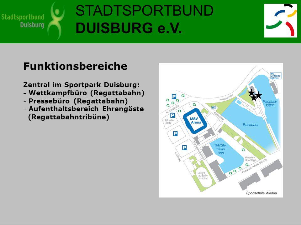 STADTSPORTBUND DUISBURG e.V. Funktionsbereiche Zentral im Sportpark Duisburg: - Wettkampfbüro (Regattabahn) - Pressebüro (Regattabahn) - Aufenthaltsbe