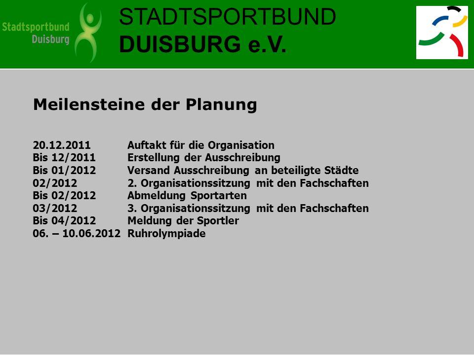STADTSPORTBUND DUISBURG e.V. Meilensteine der Planung 20.12.2011 Auftakt für die Organisation Bis 12/2011Erstellung der Ausschreibung Bis 01/2012Versa