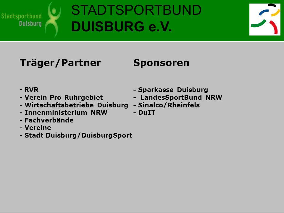 STADTSPORTBUND DUISBURG e.V. Träger/PartnerSponsoren - RVR- Sparkasse Duisburg - Verein Pro Ruhrgebiet - LandesSportBund NRW - Wirtschaftsbetriebe Dui
