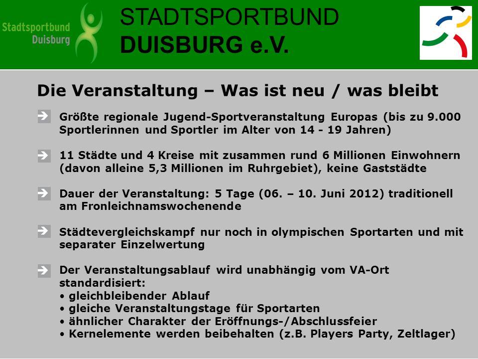 Die Veranstaltung – Was ist neu / was bleibt Größte regionale Jugend-Sportveranstaltung Europas (bis zu 9.000 Sportlerinnen und Sportler im Alter von