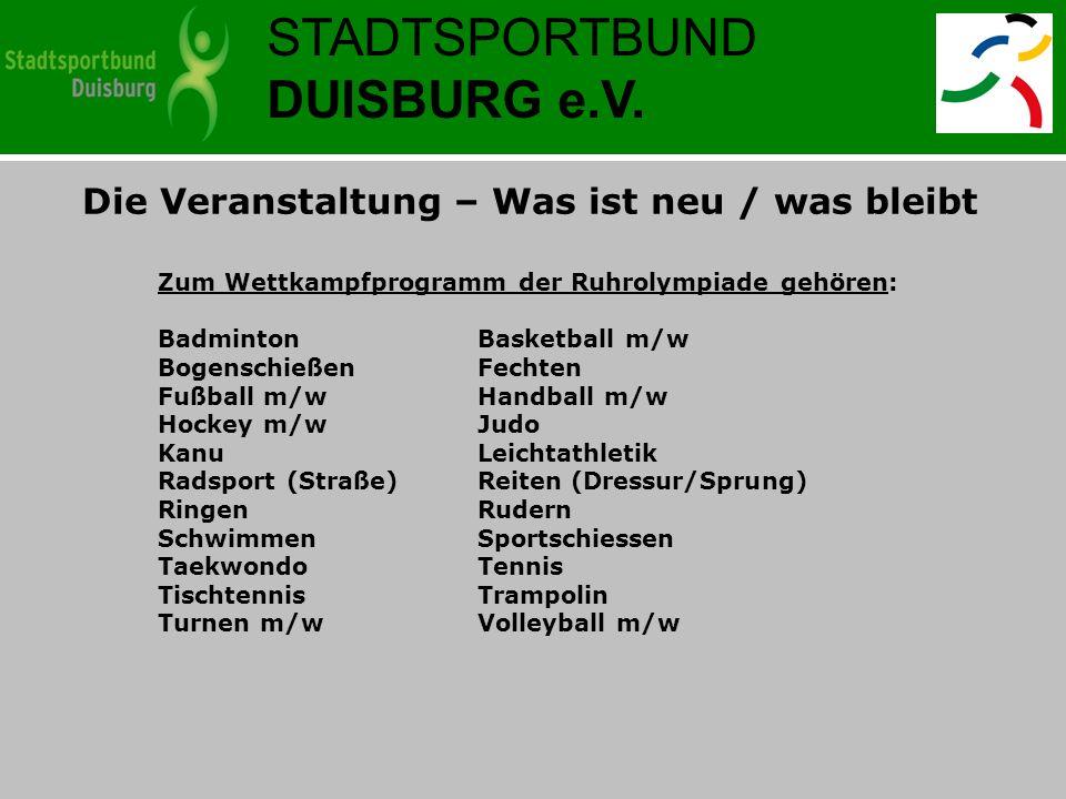 STADTSPORTBUND DUISBURG e.V. Die Veranstaltung – Was ist neu / was bleibt Zum Wettkampfprogramm der Ruhrolympiade gehören: BadmintonBasketball m/w Bog