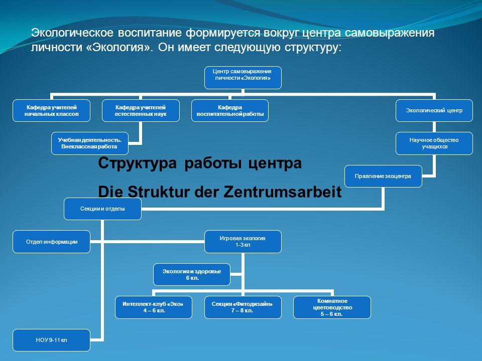 Экологическое воспитание формируется вокруг центра самовыражения личности «Экология». Он имеет следующую структуру: Центр самовыражения личности «Экол