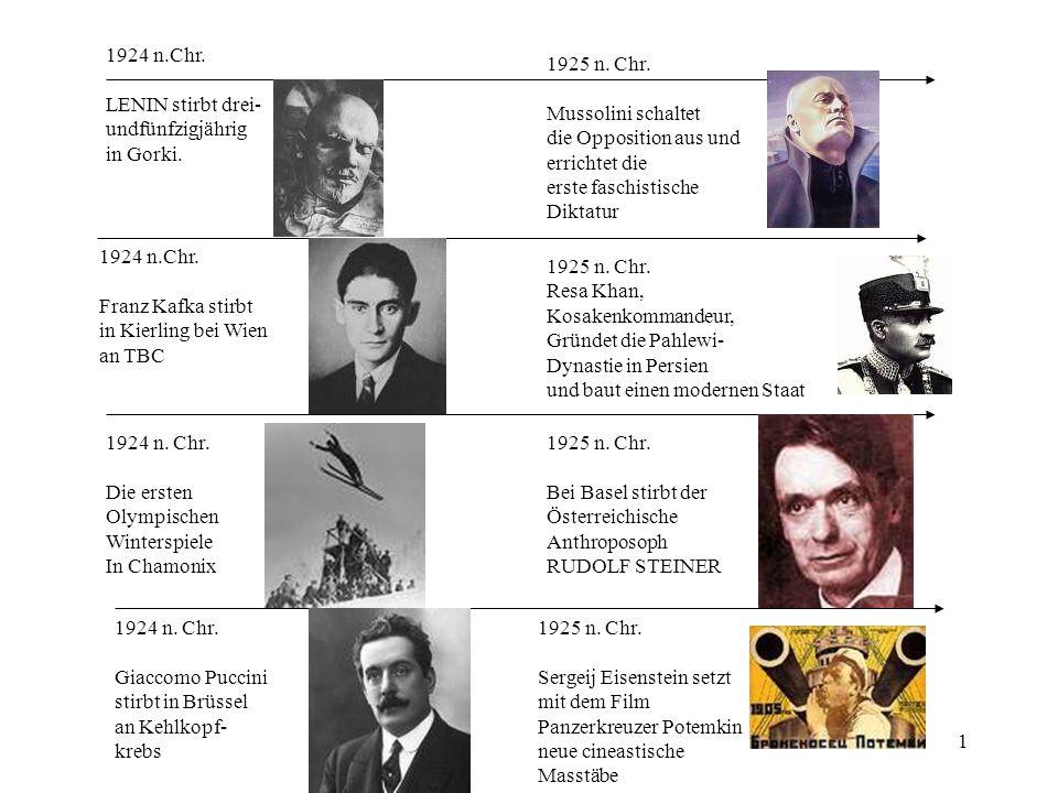 1 1924 n.Chr. LENIN stirbt drei- undfünfzigjährig in Gorki. 1924 n.Chr. Franz Kafka stirbt in Kierling bei Wien an TBC 1924 n. Chr. Die ersten Olympis