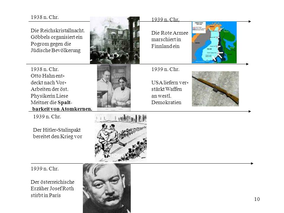 10 1938 n. Chr. Die Reichskristallnacht. Göbbels organisiert ein Pogrom gegen die Jüdische Bevölkerung 1938 n. Chr. Otto Hahn ent- deckt nach Vor- Arb