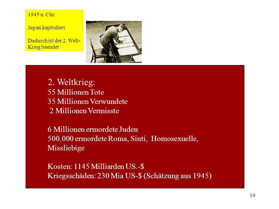 19 1945 n. Chr. Japan kapituliert. Dadurch ist der 2. Welt- Krieg beendet 2. Weltkrieg: 55 Millionen Tote 35 Millionen Verwundete 2 Millionen Vermisst