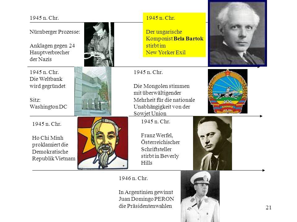 21 1945 n. Chr. Nürnberger Prozesse: Anklagen gegen 24 Hauptverbrecher der Nazis 1945 n. Chr. Der ungarische Komponist Bela Bartok stirbt im New Yorke