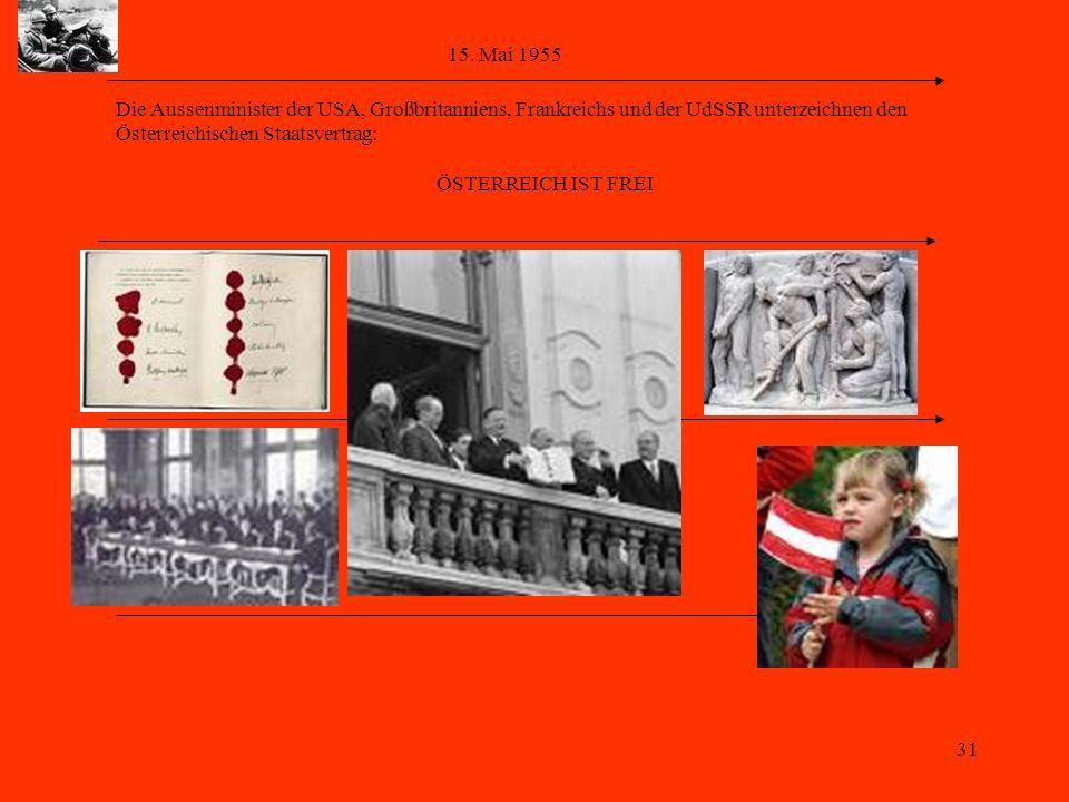 31 15. Mai 1955 Die Aussenminister der USA, Großbritanniens, Frankreichs und der UdSSR unterzeichnen den Österreichischen Staatsvertrag: ÖSTERREICH IS