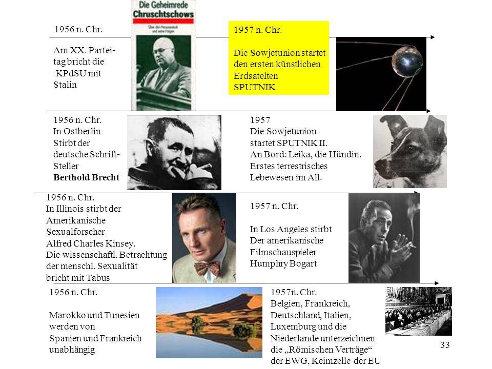 33 1956 n. Chr. Am XX. Partei- tag bricht die KPdSU mit Stalin 1956 n. Chr. In Ostberlin Stirbt der deutsche Schrift- Steller Berthold Brecht 1956 n.