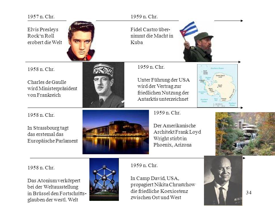 34 1957 n. Chr. Elvis Presleys Rockn Roll erobert die Welt 1958 n. Chr. Charles de Gaulle wird Ministerpräsident von Frankreich 1958 n. Chr. In Strass