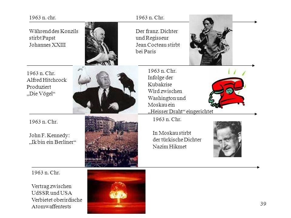 39 1963 n. chr. Während des Konzils stirbt Papst Johannes XXIII 1963 n. Chr. Alfred Hitchcock Produziert Die Vögel 1963 n. Chr. John F. Kennedy: Ik bi