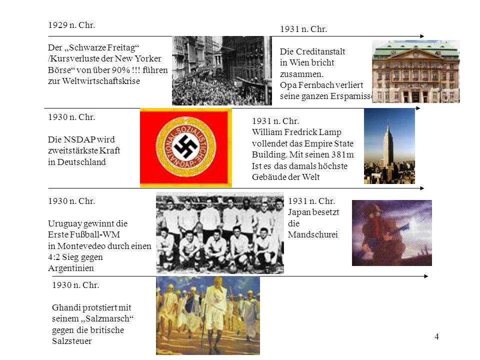 4 1929 n. Chr. Der Schwarze Freitag /Kursverluste der New Yorker Börse von über 90% !!! führen zur Weltwirtschaftskrise 1930 n. Chr. Die NSDAP wird zw