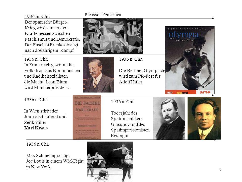7 1936 m. Chr. Der spanische Bürger- Krieg wird zum ersten Kräftemessen zwischen Faschismus und Demokratie. Der Faschist Franko obsiegt nach dreiährig