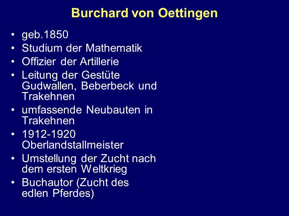 Burchard von Oettingen geb.1850 Studium der Mathematik Offizier der Artillerie Leitung der Gestüte Gudwallen, Beberbeck und Trakehnen umfassende Neuba