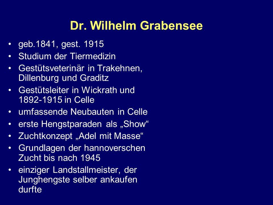 Dr. Wilhelm Grabensee geb.1841, gest. 1915 Studium der Tiermedizin Gestütsveterinär in Trakehnen, Dillenburg und Graditz Gestütsleiter in Wickrath und
