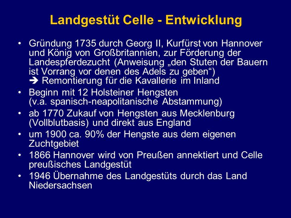 Landgestüt Celle - Entwicklung Gründung 1735 durch Georg II, Kurfürst von Hannover und König von Großbritannien, zur Förderung der Landespferdezucht (
