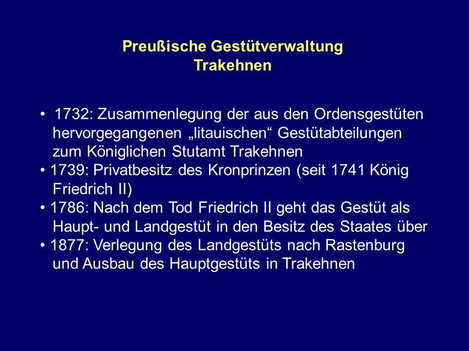 Preußische Gestütverwaltung Trakehnen 1732: Zusammenlegung der aus den Ordensgestüten hervorgegangenen litauischen Gestütabteilungen zum Königlichen S