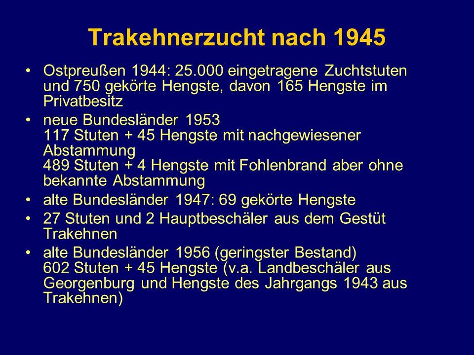 Trakehnerzucht nach 1945 Ostpreußen 1944: 25.000 eingetragene Zuchtstuten und 750 gekörte Hengste, davon 165 Hengste im Privatbesitz neue Bundesländer