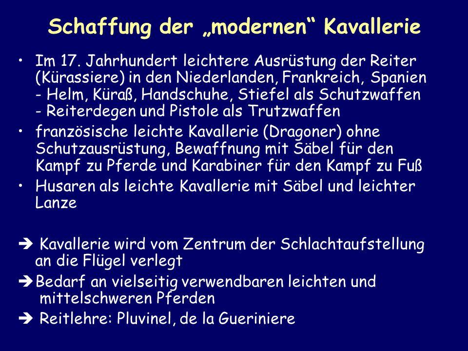 Schaffung der modernen Kavallerie Im 17. Jahrhundert leichtere Ausrüstung der Reiter (Kürassiere) in den Niederlanden, Frankreich, Spanien - Helm, Kür