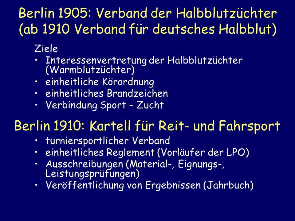 Berlin 1905: Verband der Halbblutzüchter (ab 1910 Verband für deutsches Halbblut) Ziele Interessenvertretung der Halbblutzüchter (Warmblutzüchter) ein