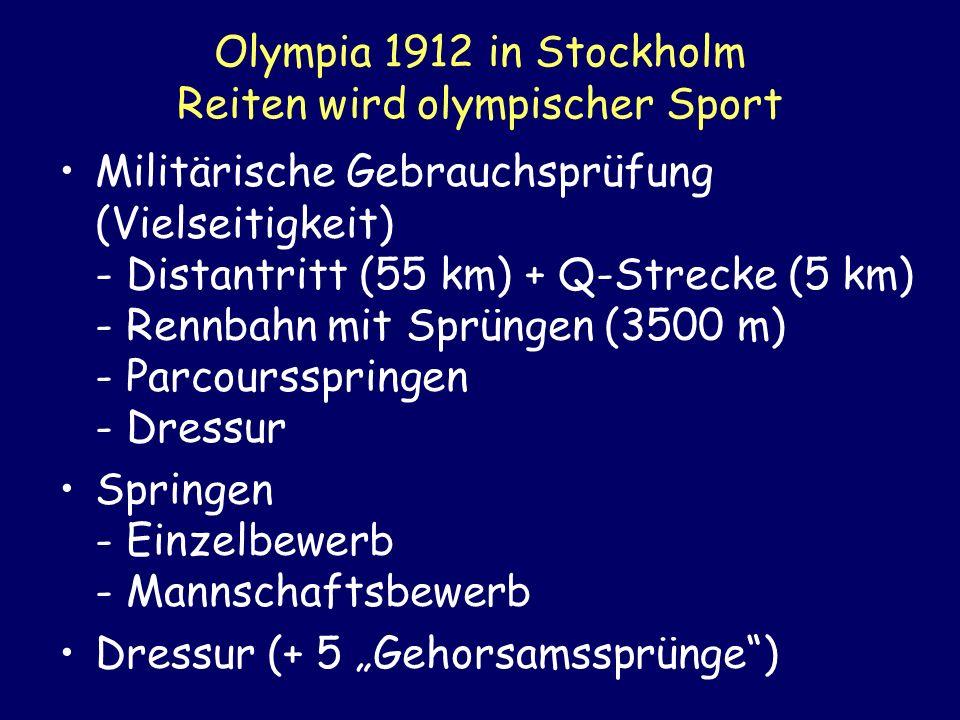 Olympia 1912 in Stockholm Reiten wird olympischer Sport Militärische Gebrauchsprüfung (Vielseitigkeit) - Distantritt (55 km) + Q-Strecke (5 km) - Renn
