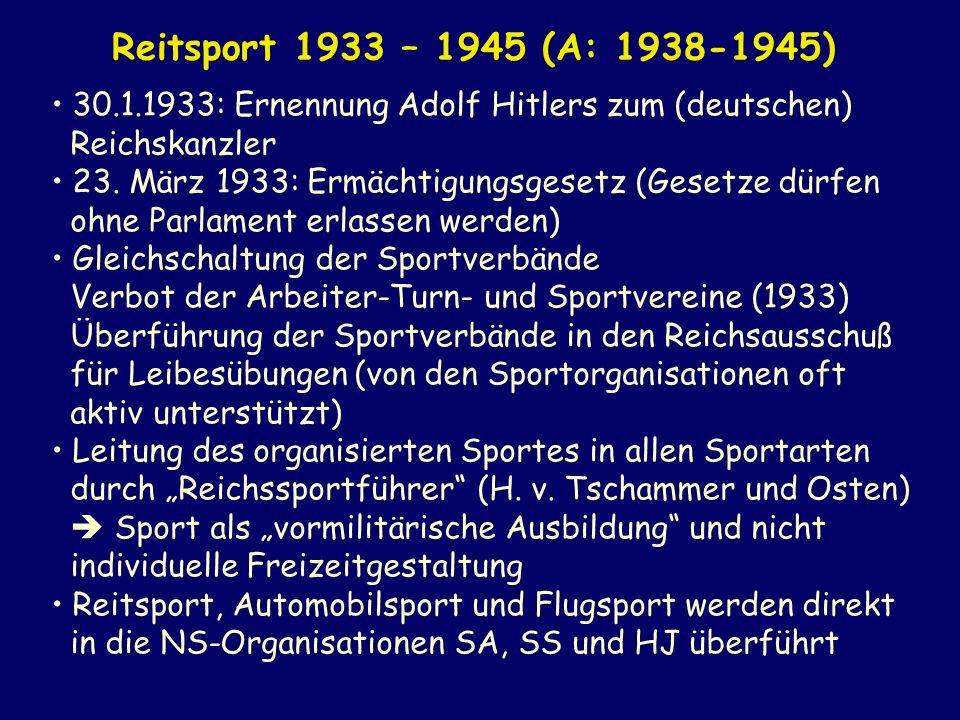 30.1.1933: Ernennung Adolf Hitlers zum (deutschen) Reichskanzler 23. März 1933: Ermächtigungsgesetz (Gesetze dürfen ohne Parlament erlassen werden) Gl