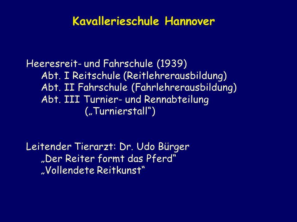 Heeresreit- und Fahrschule (1939) Abt. I Reitschule (Reitlehrerausbildung) Abt. II Fahrschule (Fahrlehrerausbildung) Abt. III Turnier- und Rennabteilu