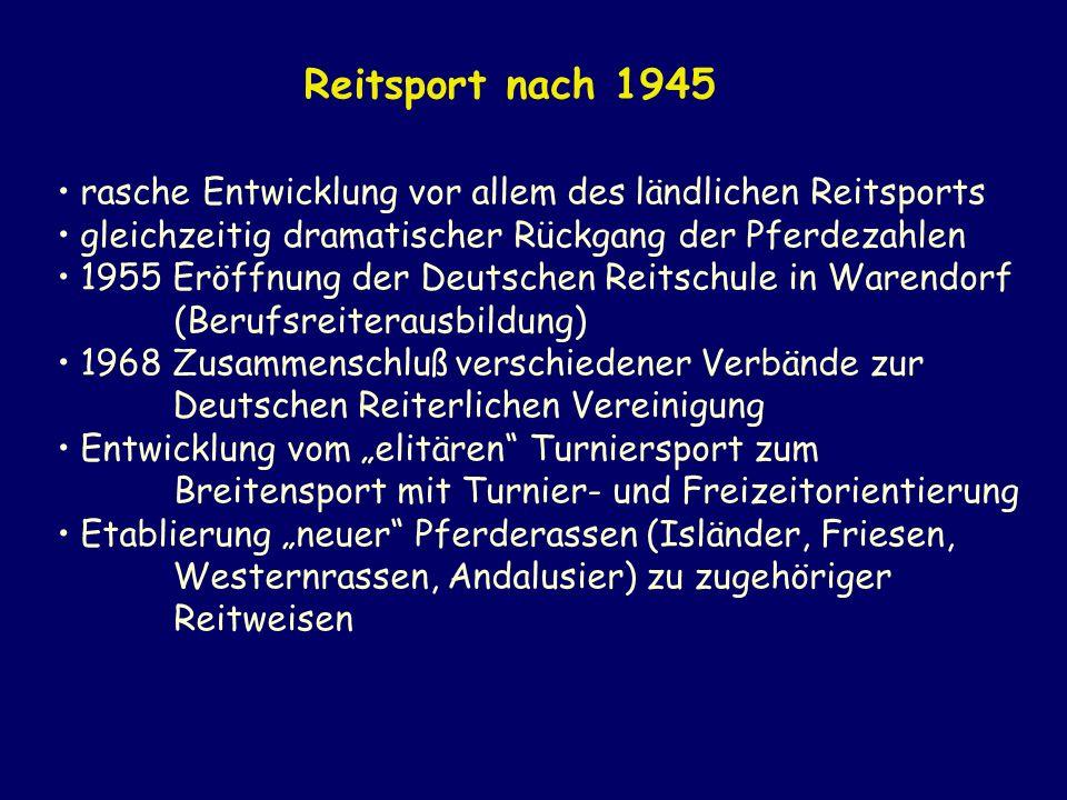 rasche Entwicklung vor allem des ländlichen Reitsports gleichzeitig dramatischer Rückgang der Pferdezahlen 1955 Eröffnung der Deutschen Reitschule in