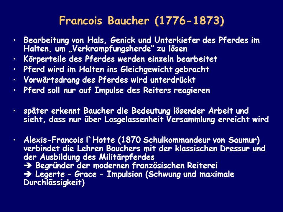 Francois Baucher (1776-1873) Bearbeitung von Hals, Genick und Unterkiefer des Pferdes im Halten, um Verkrampfungsherde zu lösen Körperteile des Pferde