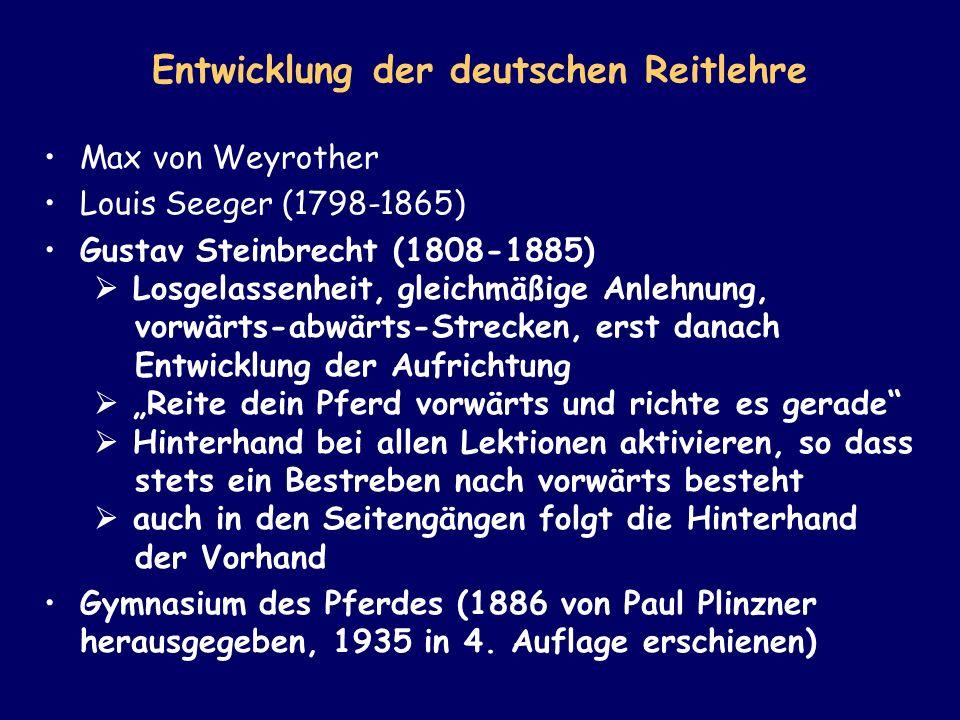 Entwicklung der deutschen Reitlehre Max von Weyrother Louis Seeger (1798-1865) Gustav Steinbrecht (1808-1885) Losgelassenheit, gleichmäßige Anlehnung,