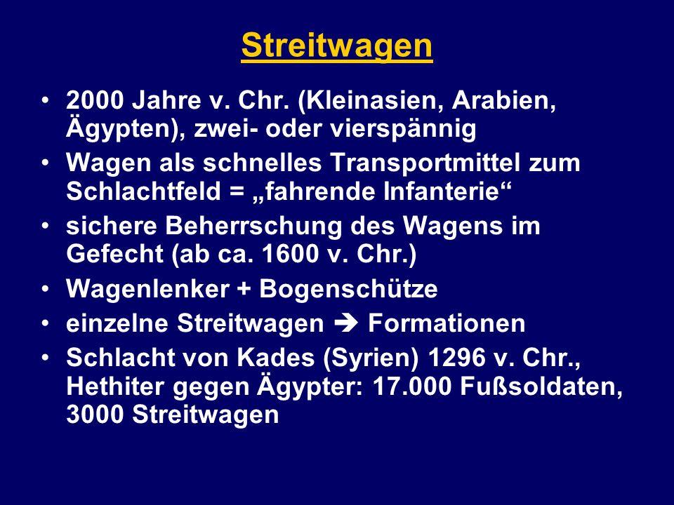 Streitwagen 2000 Jahre v. Chr. (Kleinasien, Arabien, Ägypten), zwei- oder vierspännig Wagen als schnelles Transportmittel zum Schlachtfeld = fahrende
