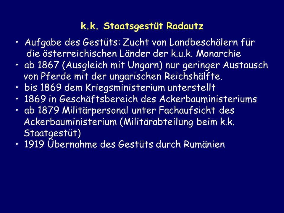 k.k. Staatsgestüt Radautz Aufgabe des Gestüts: Zucht von Landbeschälern für die österreichischen Länder der k.u.k. Monarchie ab 1867 (Ausgleich mit Un