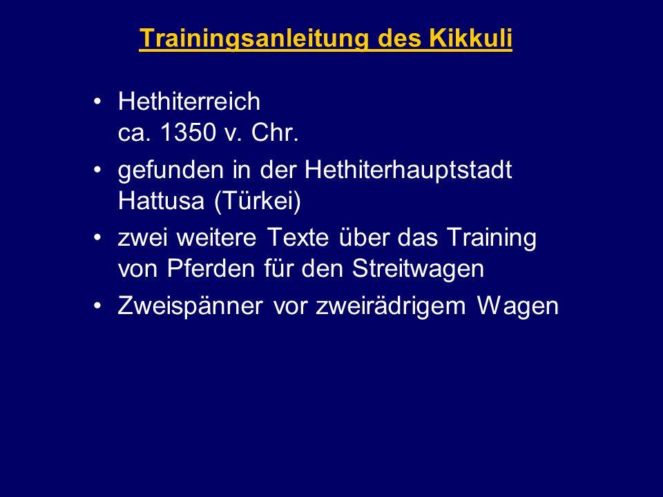 Trainingsanleitung des Kikkuli Hethiterreich ca. 1350 v. Chr. gefunden in der Hethiterhauptstadt Hattusa (Türkei) zwei weitere Texte über das Training