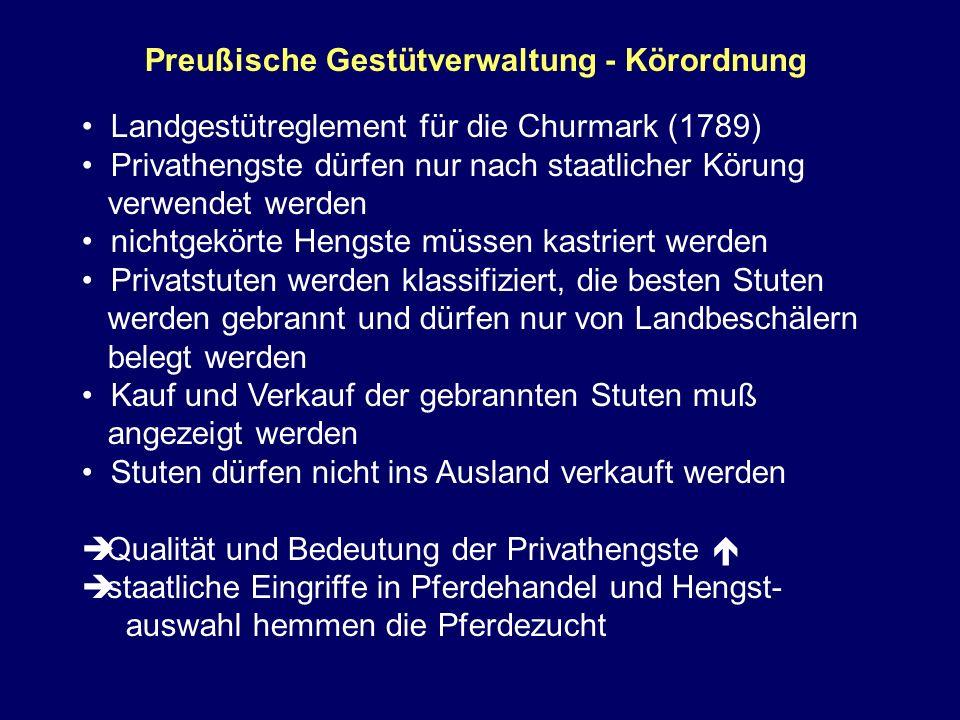 Preußische Gestütverwaltung - Körordnung Landgestütreglement für die Churmark (1789) Privathengste dürfen nur nach staatlicher Körung verwendet werden