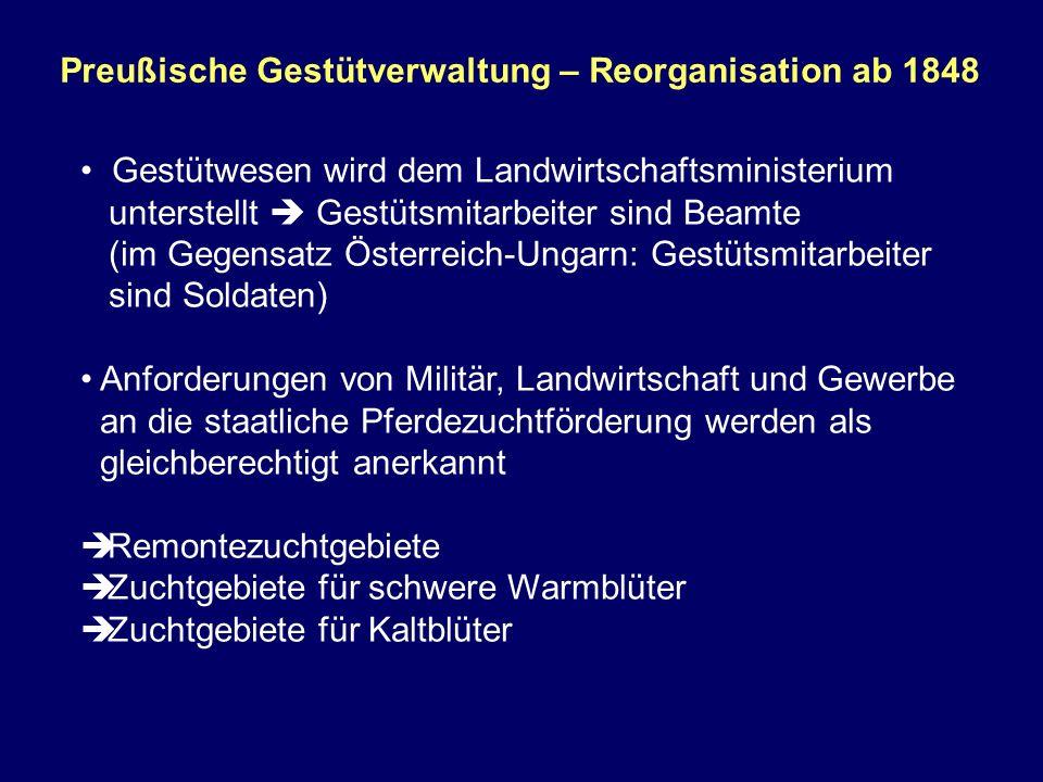 Preußische Gestütverwaltung – Reorganisation ab 1848 Gestütwesen wird dem Landwirtschaftsministerium unterstellt Gestütsmitarbeiter sind Beamte (im Ge
