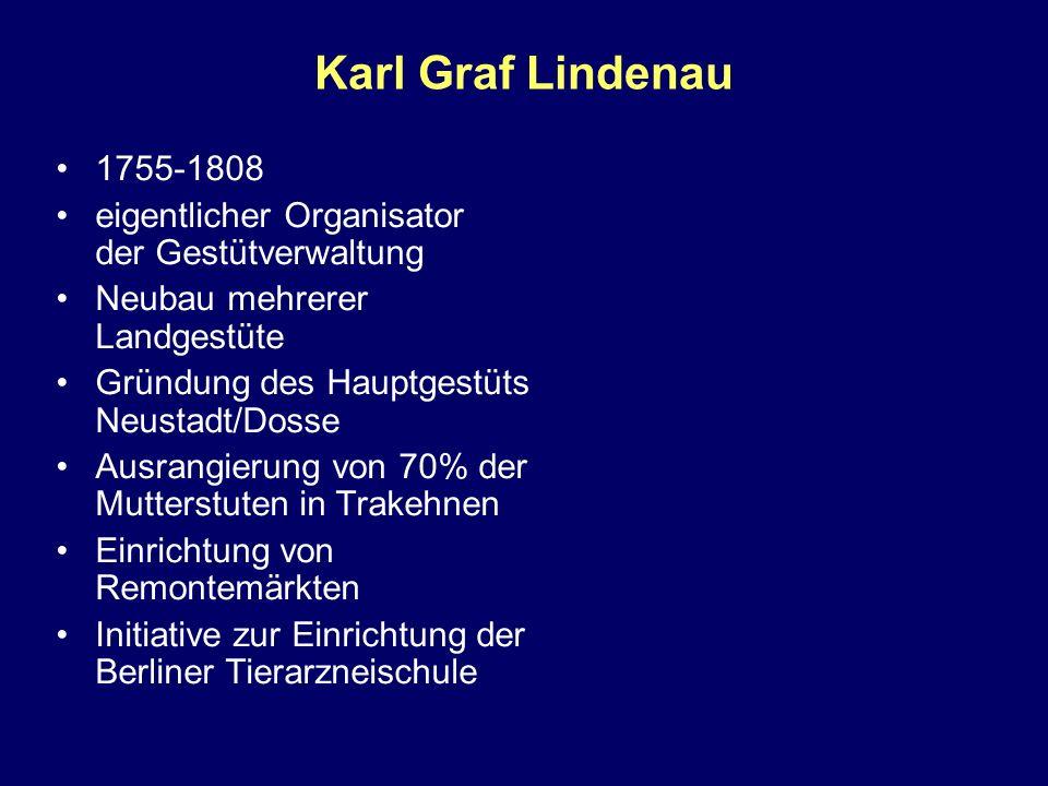 Karl Graf Lindenau 1755-1808 eigentlicher Organisator der Gestütverwaltung Neubau mehrerer Landgestüte Gründung des Hauptgestüts Neustadt/Dosse Ausran