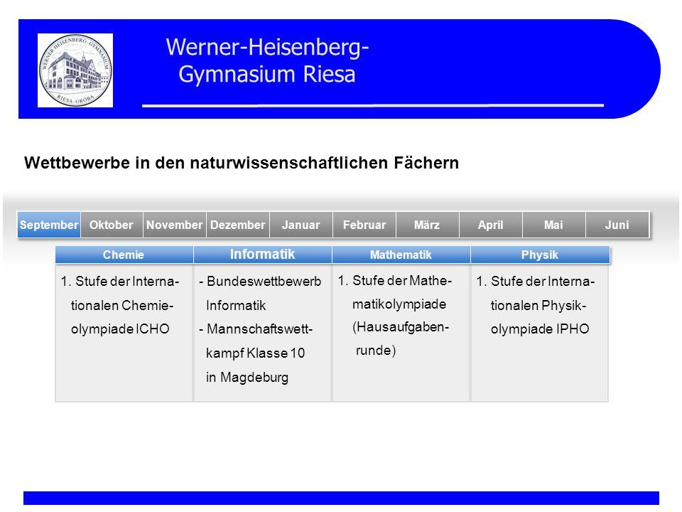 Werner-Heisenberg- Gymnasium Riesa 1. Stufe der Interna- tionalen Chemie- olympiade ICHO - Bundeswettbewerb Informatik - Mannschaftswett- kampf Klasse
